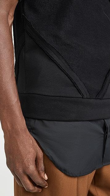 3.1 Phillip Lim Short Sleeve Patchwork Dolman Sweatshirt