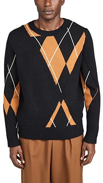 3.1 Phillip Lim Argyle Textured Pullover Sweater