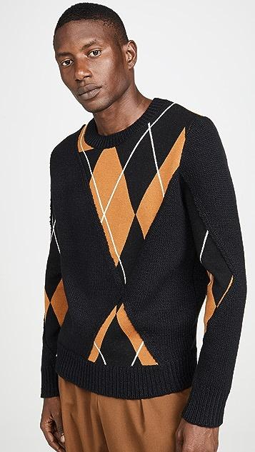 3.1 Phillip Lim Argyle Textured Pullover Sweater