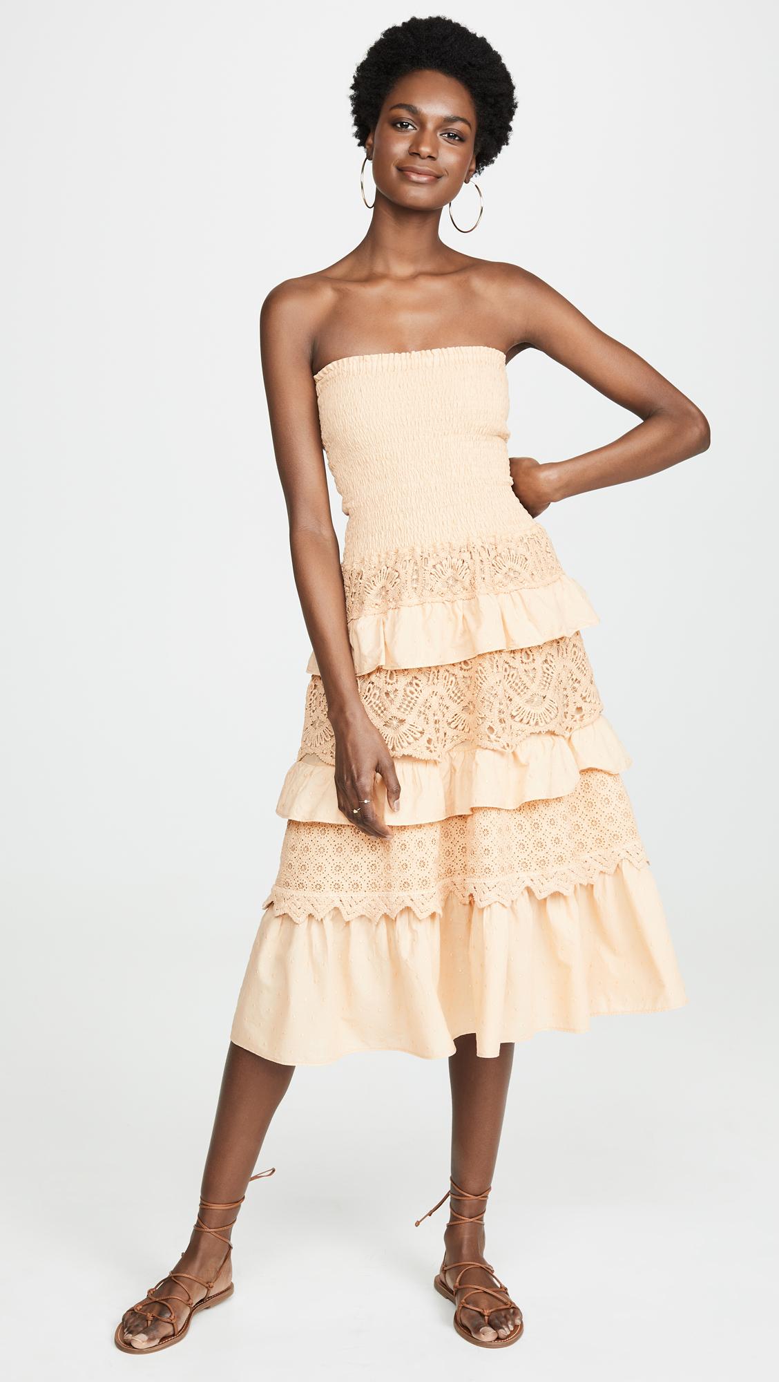 Temptation Positano Verona Tiered Strapless Midi Dress