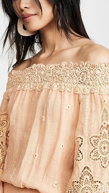 Temptation Positano Мини-платье Asti с открытыми плечами и расклешенными рукавами