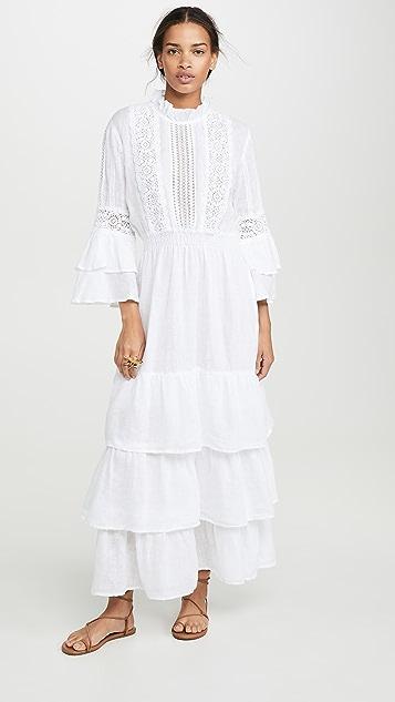 Temptation Positano Льняное платье с расклешенными рукавами и округлым вырезом
