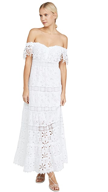 Temptation Positano Off Shoulder Macrame Long Dress