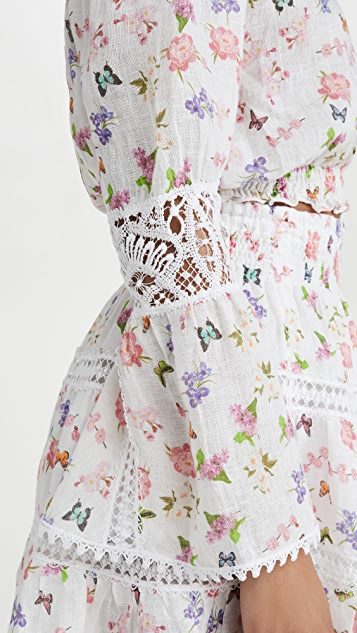Temptation Positano Ravello 亚麻露肩中长女式衬衫