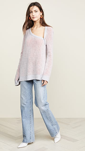 TRE by Natalie Ratabesi Cold Shoulder Cashmere Sweater