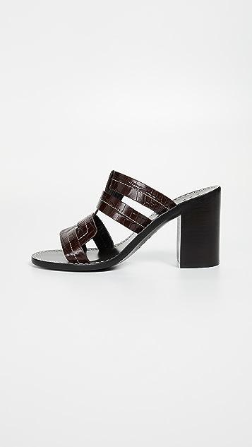 Trademark Interlock Faux Croc Heeled Sandals