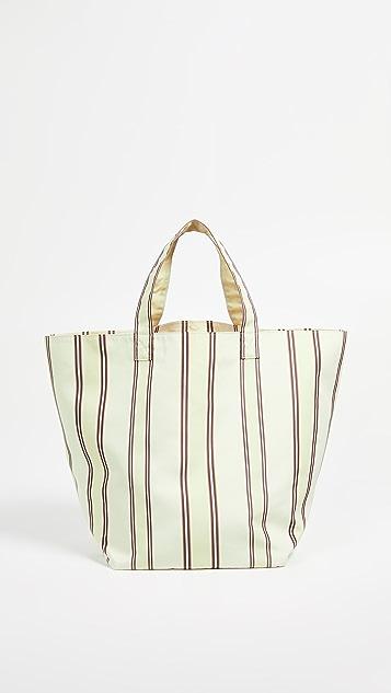 Trademark Большая объемная сумка с короткими ручками Grocery в полоску