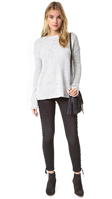 True Religion Halle Crop Full Lace Up Jeans