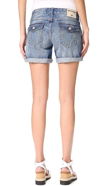 True Religion Emma Mid Rise Shorts