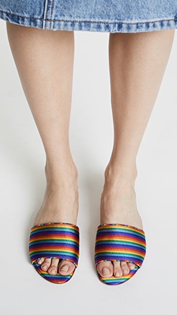 Tabitha Simmons Rainbow Stripe Slides
