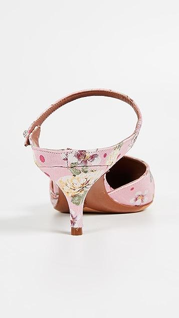 Tabitha Simmons Floral Mule Pumps