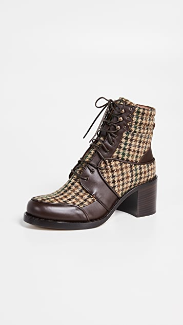Tabitha Simmons Leo Lace Up Plaid Boots