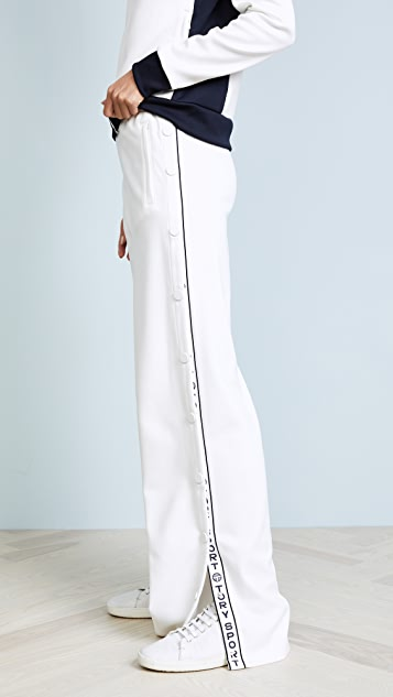 Tory Sport Banner Tear Away Track Pants - Snow White