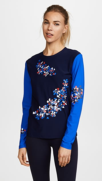 Tory Sport Reflective Print Long Sleeve Top
