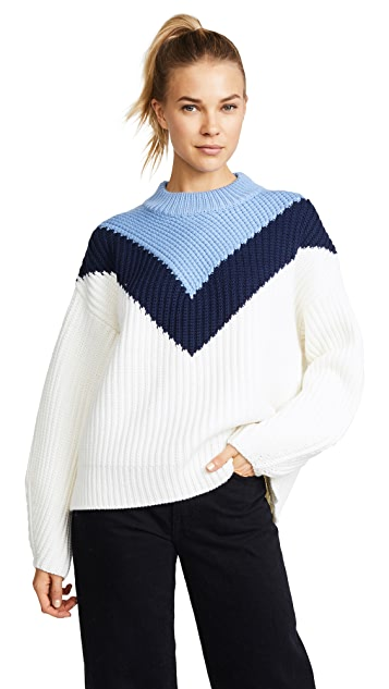 Tory Sport Chevron Mock Neck Sweater