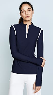 Parallel Stripe Reflective Quarter Zip Pullover