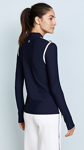 Tory Sport Parallel Stripe Reflective Quarter Zip Pullover