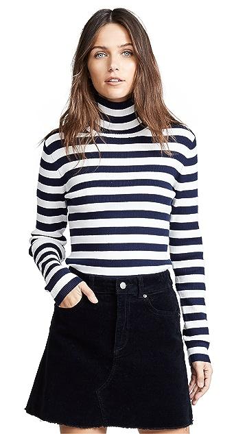 Tory Sport Striped Ribbed Merino Turtleneck Sweater