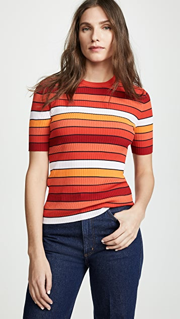 Tory Sport Tech Knit Striped Tee