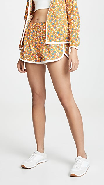 Tory Sport Lightweight Printed Running Shorts - Ritzy Floral Vibrant Orange