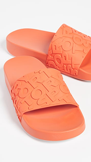 Embossed Logo Slide Sandals by Tory Sport