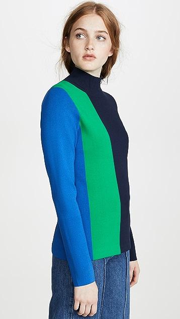 Tory Sport Block Stripe Tech Knit Turtleneck