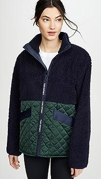 Contrast Sherpa Fleece Zip Jacket