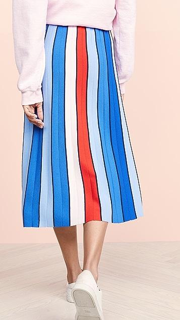Tory Sport 高科技针织条纹半身裙