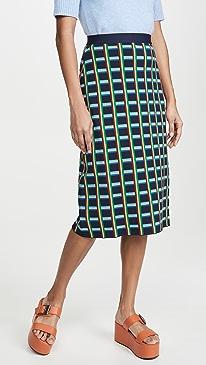 Tech Knit Checkered Skirt