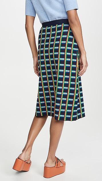 Tory Sport 高科技针织格纹半身裙