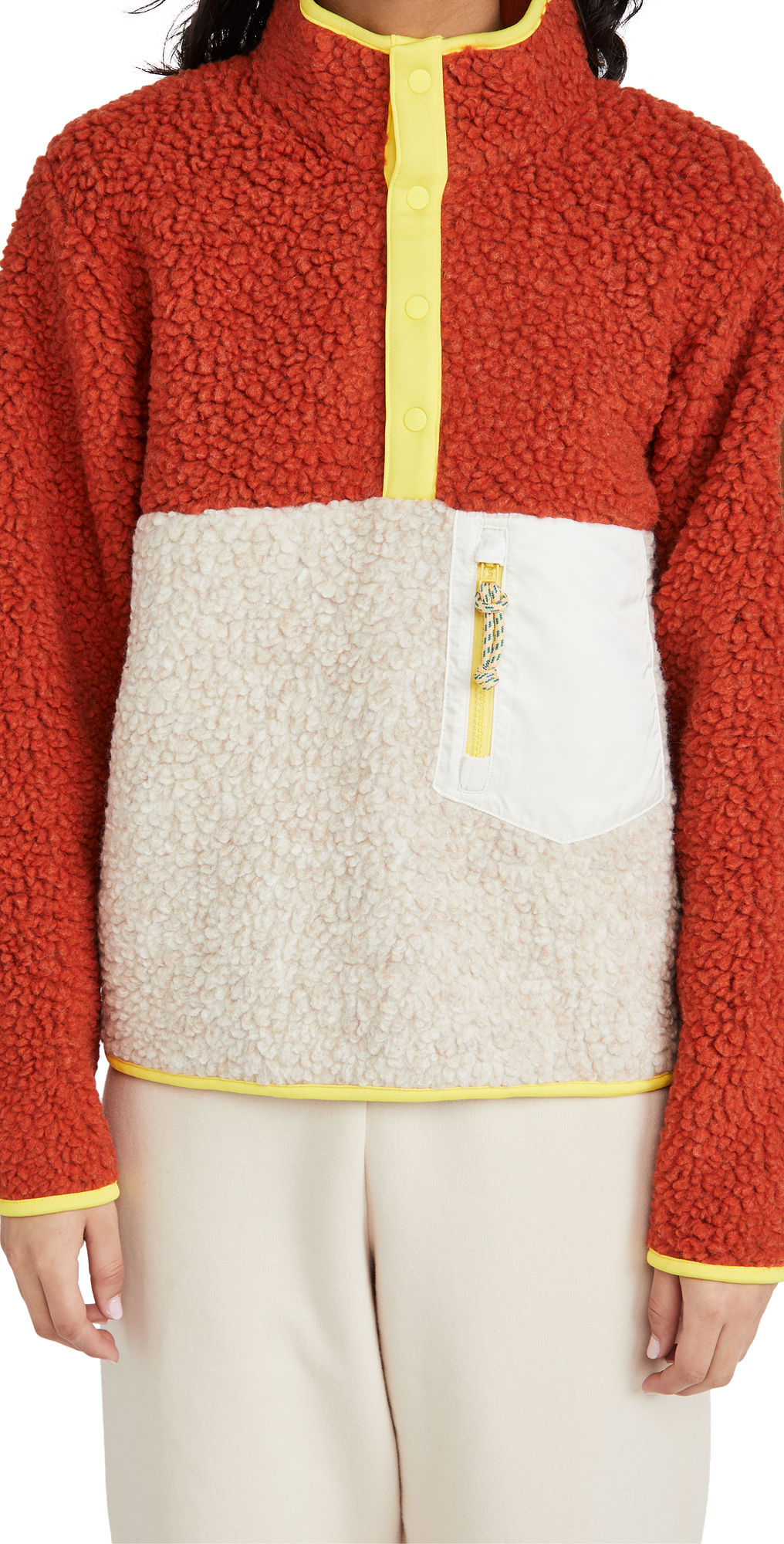 Tory Sport Sherpa Fleece Pullover Jacket