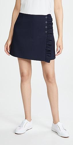Tory Sport - 高科技斜纹织物荷叶边半身裙