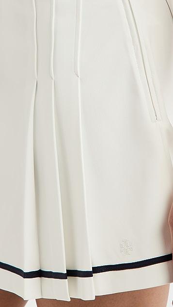 Tory Sport 高科技斜纹裥褶网球半身裙