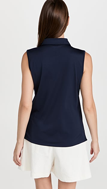 Tory Sport 高科技珠地布无袖荷叶边马球衫