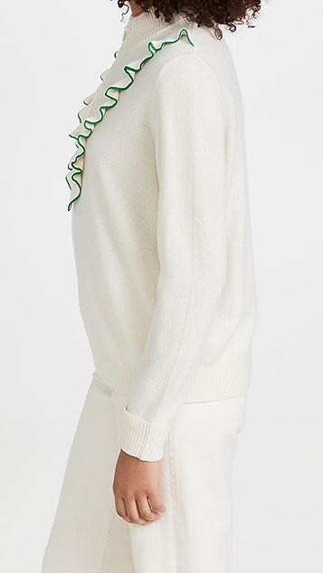 Tory Sport Cashmere Ruffle Tennis Sweater