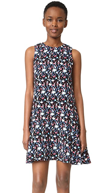 Tanya Taylor Leaf Floral Crepe Adalia Dress