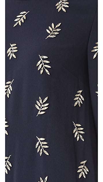 Tanya Taylor Crystal Leaf Embroidered Lindsey Dress