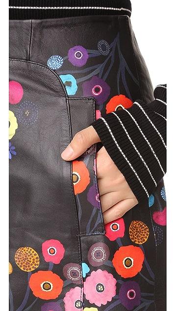 Tanya Taylor Print Leather Aneta Skirt