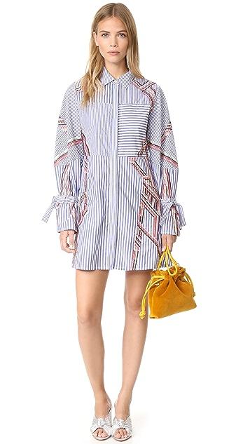 Tanya Taylor Embroidered Menswear Stripe Charlee Dress