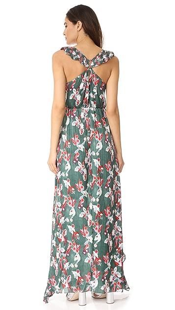 Tanya Taylor Floral Ikat Silk Stripe Oksana Dress