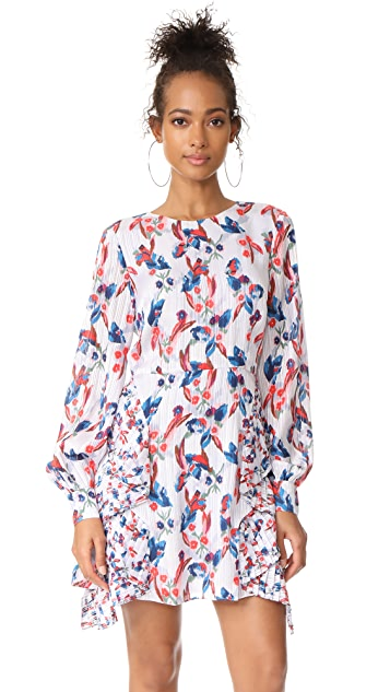Tanya Taylor Floral Ikat Silk Stripe Faretta Dress