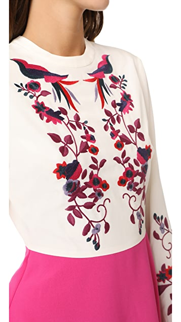 Tanya Taylor Kimono Embroidered Aidy Dress