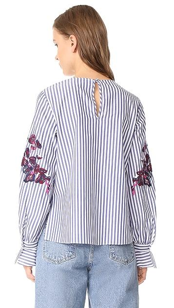 Tanya Taylor Menswear Stripe Marcie Top