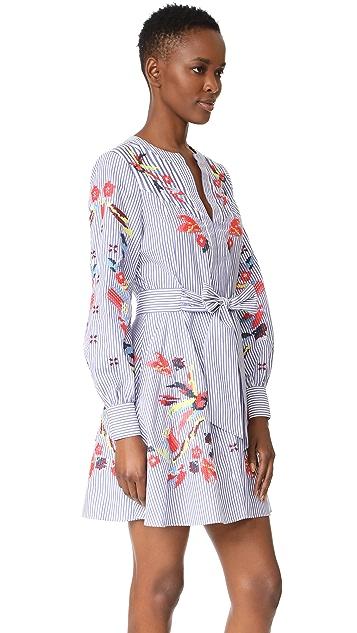 Tanya Taylor Embroidered Menswear Stripe Caro Dress
