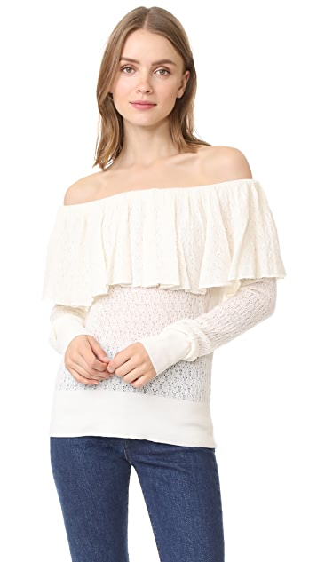 Tanya Taylor Knit Lace Sweater