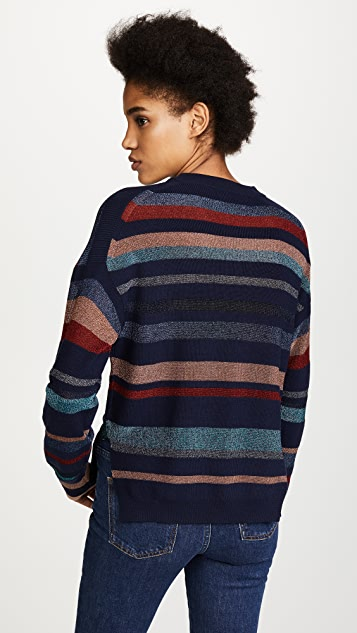 Tanya Taylor Metallic Stripe Cyn Sweater