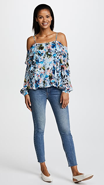 Tanya Taylor Watercolor Floral Daisy Top