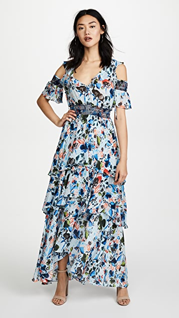 Tanya Taylor Watercolor Floral Isabelle Dress