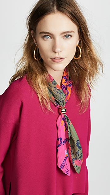 Tanya Taylor Kelly Neck Scarf - Bright Pink/Army