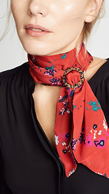 Tanya Taylor Printed Scarf with Pony Buckle